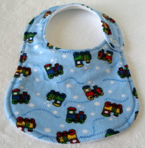 blue Choo-choo trains newborn bib